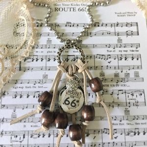 Handmade Route 66 Pendant Assemblage Necklace